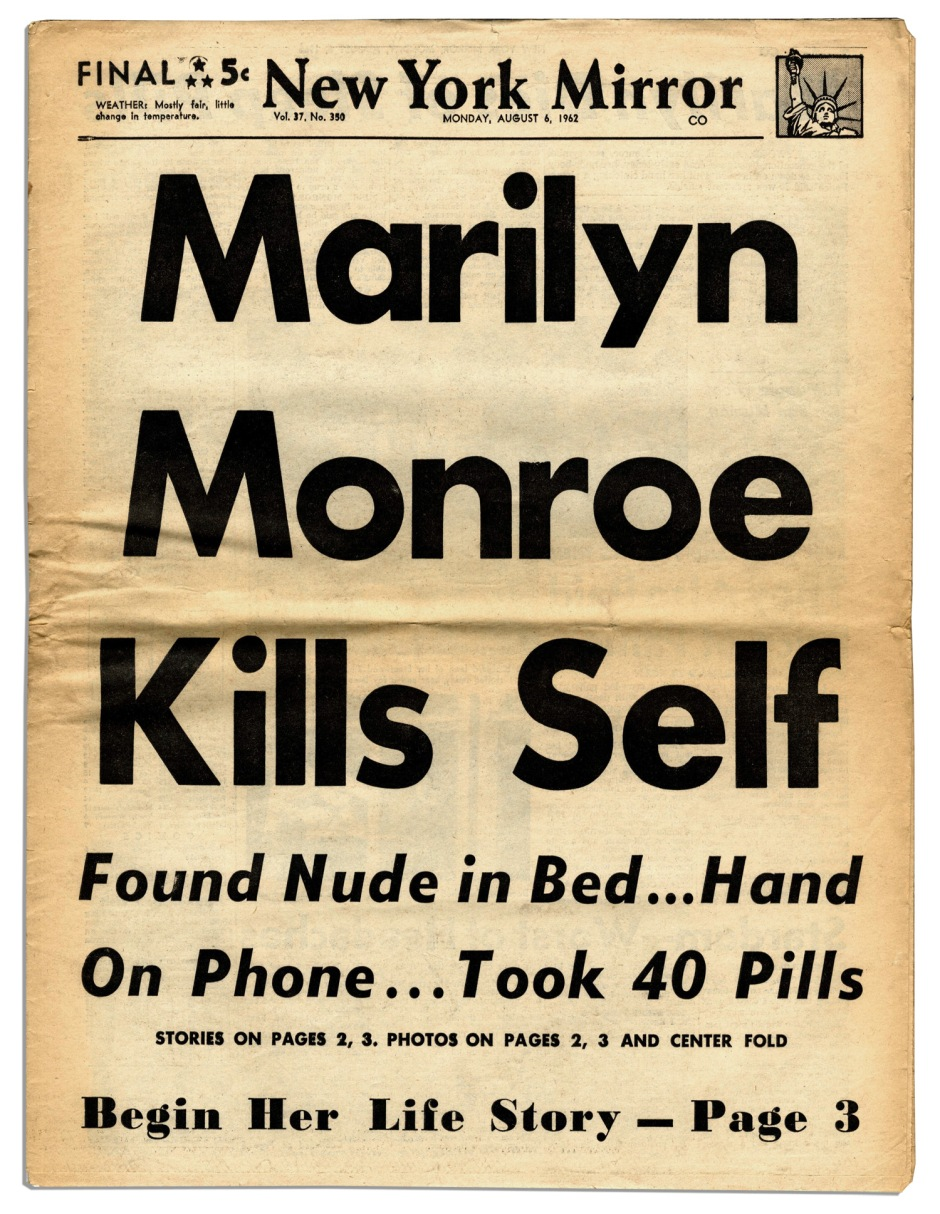 New_York_Mirror_Front_Page_of_August_6,_1962
